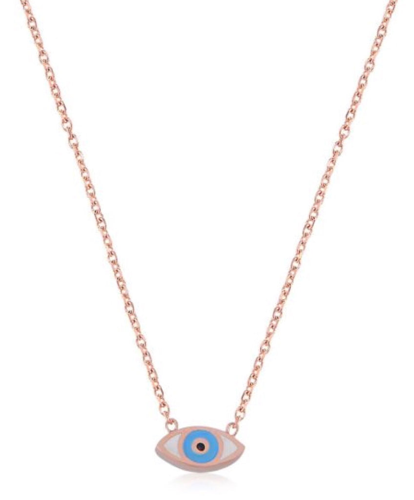 Mini Slant Eye Pendant in Rose Gold