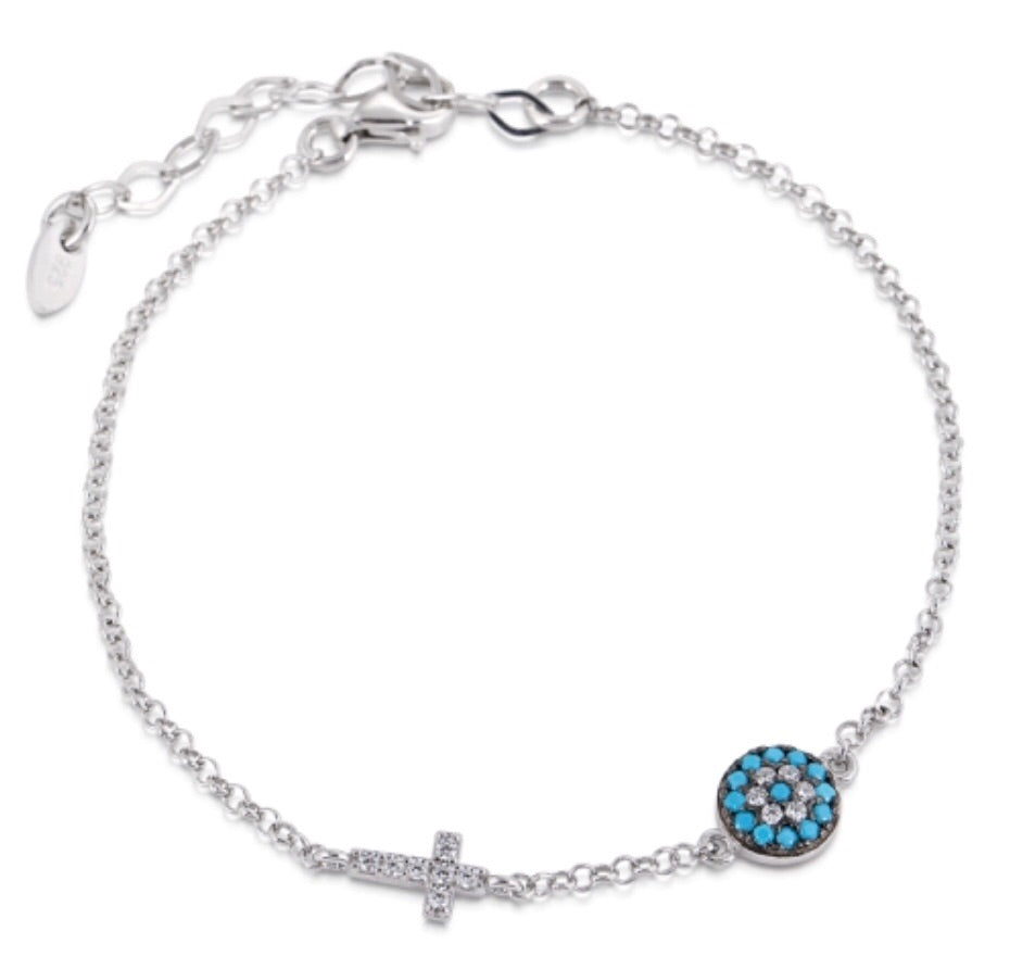 Small Eye and Cross Bracelet in Turquoise Nano and Sterling Silver