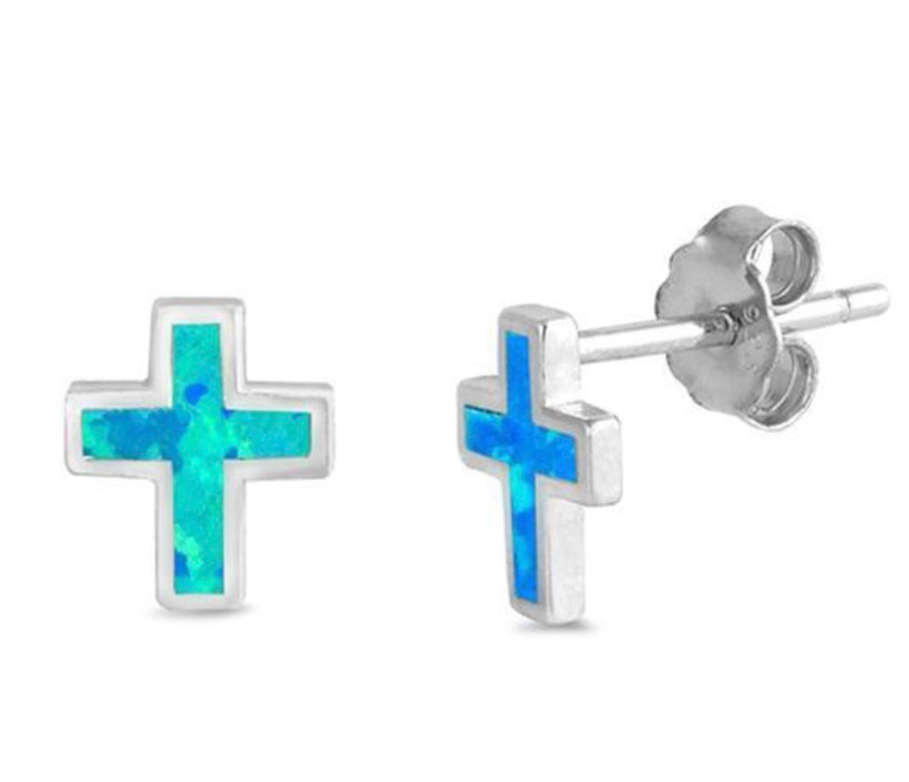 Opalite Cross Earrings in Sterling Silver
