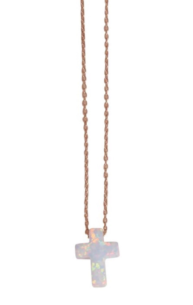 White Opalite Cross Necklace in Rose Gold