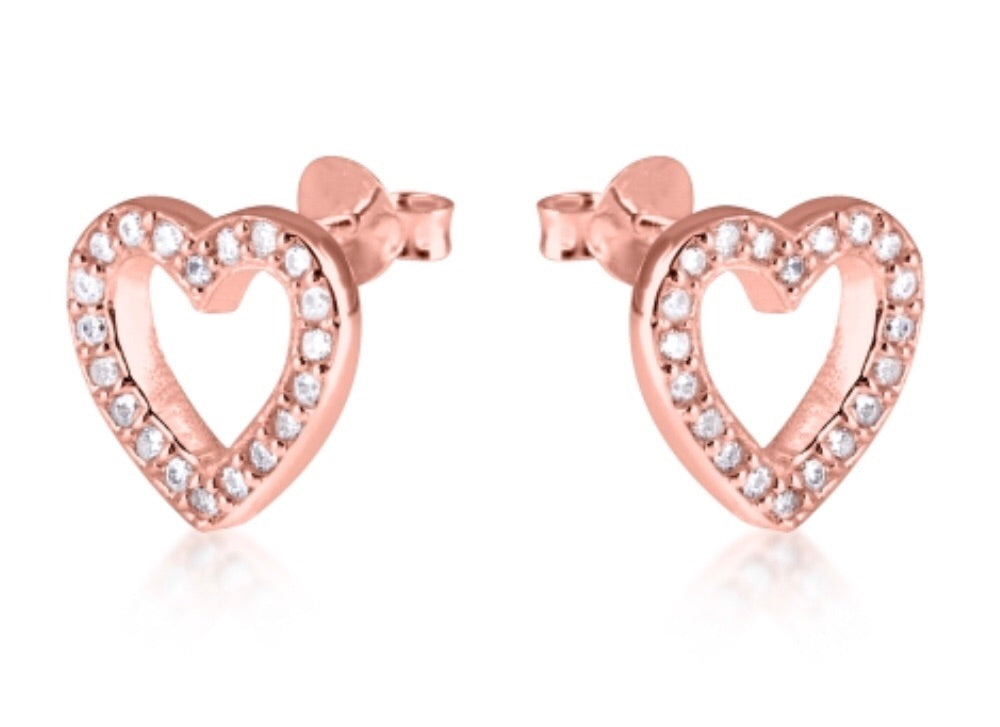 Open Heart Stud Earrings in Rose Gold