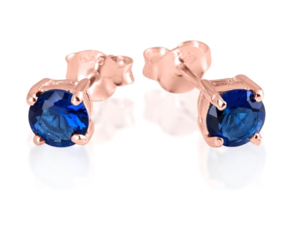 Blue Sapphire Stud Earrings in Sterling Silver