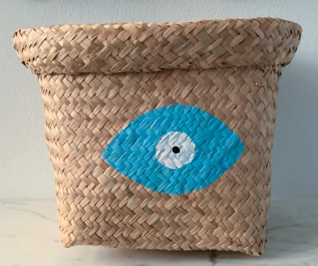 Seagrass Basket with Pale Blue Evil Eye
