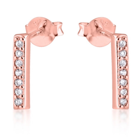 Bar Line Earrings in Rose Gold
