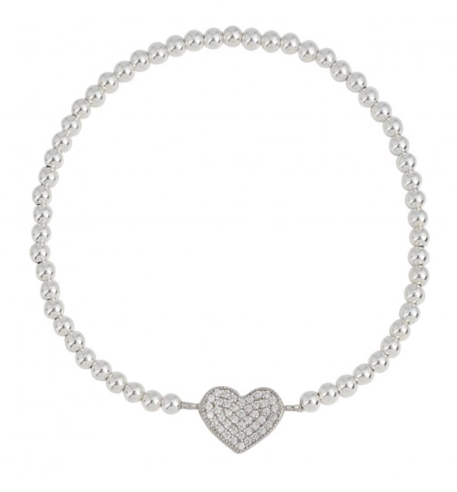 Diamonte Heart Beaded Bracelet in Sterling Silver