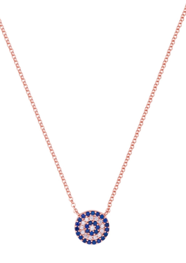 Blue Eye Necklace in Rose Gold