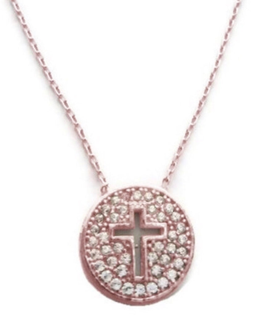 Cut Out Cross Necklace in Rose Gold
