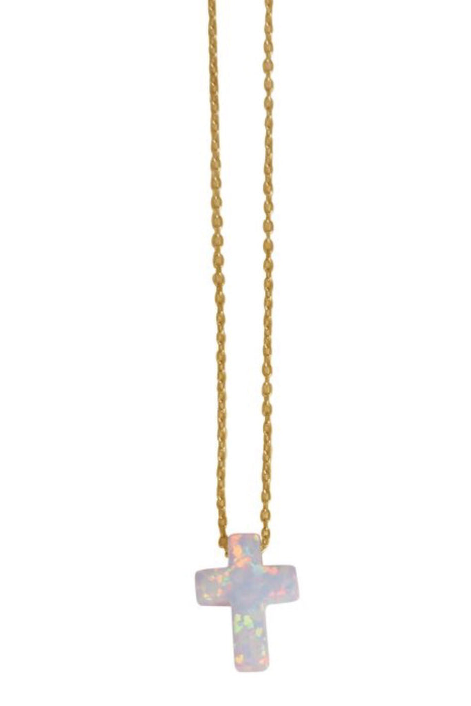 White Opalite Cross Necklace in Sterling Silver