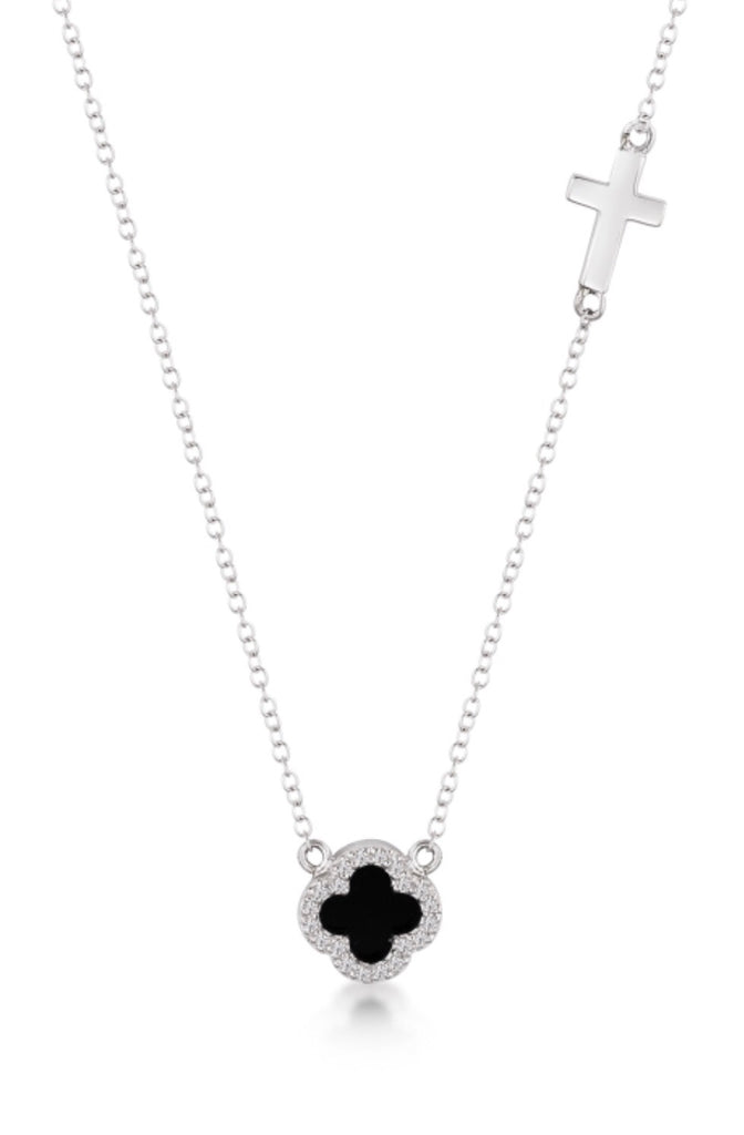Onyx Clover & Cross Necklace in Sterling Silver