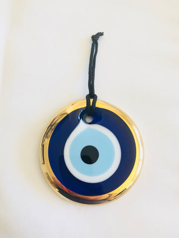 Evil Eye Glass Ornament with Gold Trim