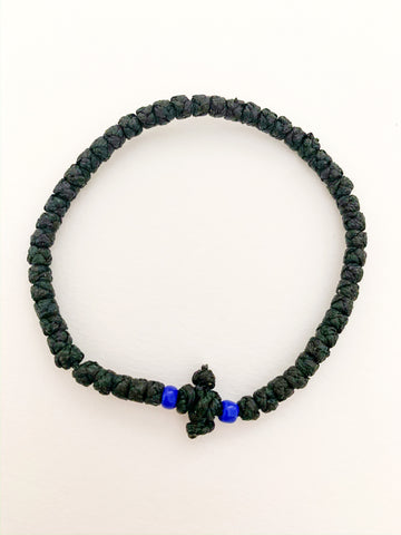 Black Komboskini with Opaque Dark Blue Beads