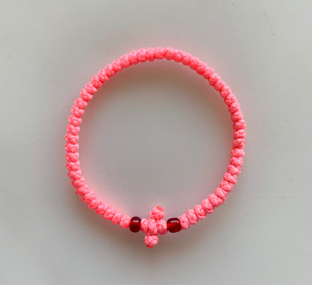 Pink Komboskini with Red Beads