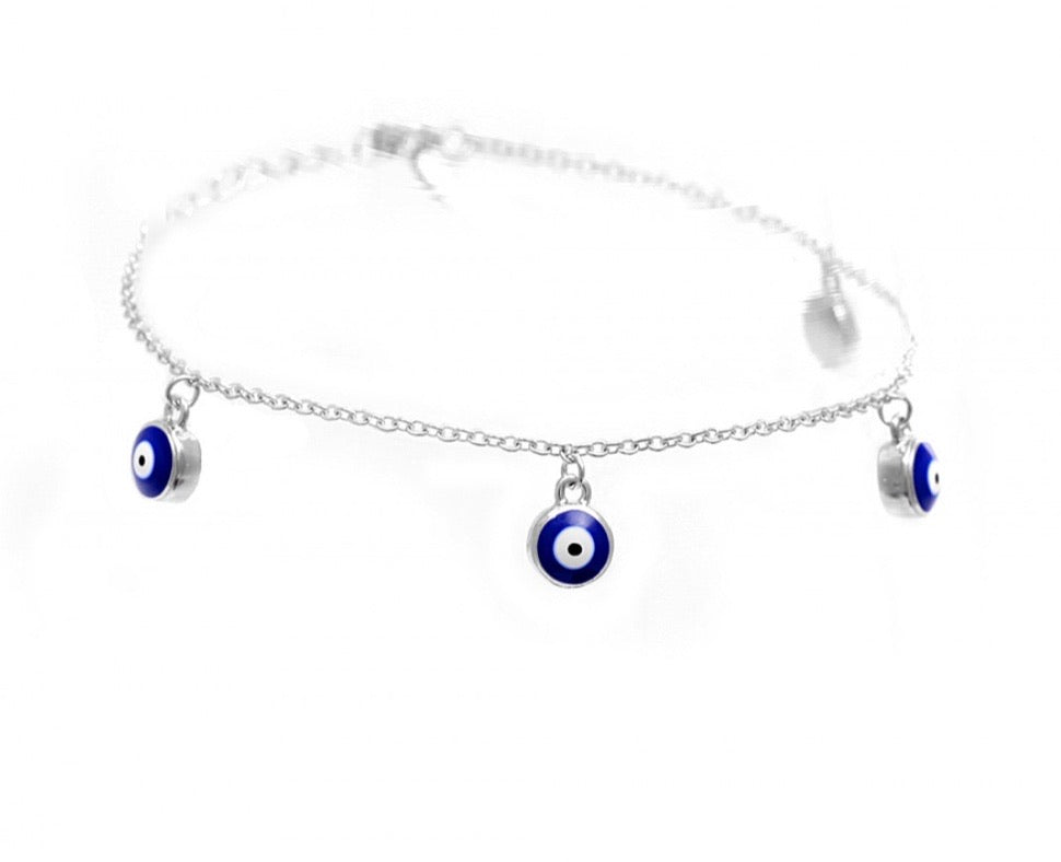 Evil Eye Charm Bracelet in Sterling Silver