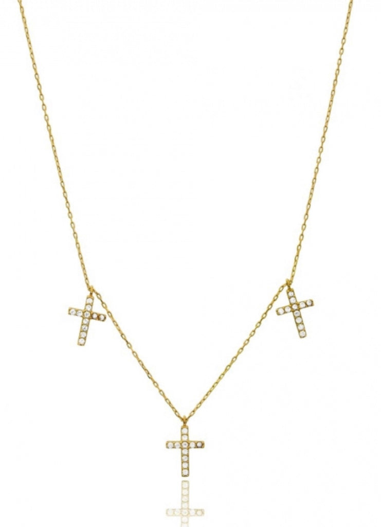 Trio Cross Necklace in Gold