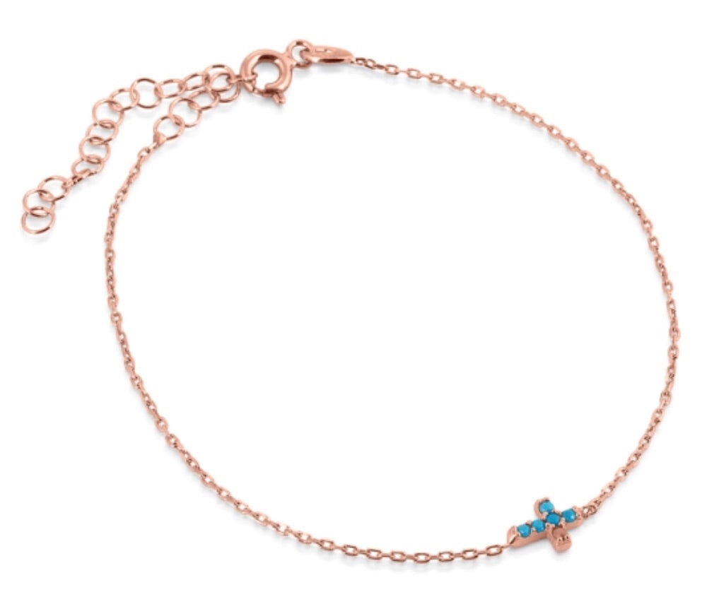 Mini Cross Turquoise Nano Bracelet in Rose Gold