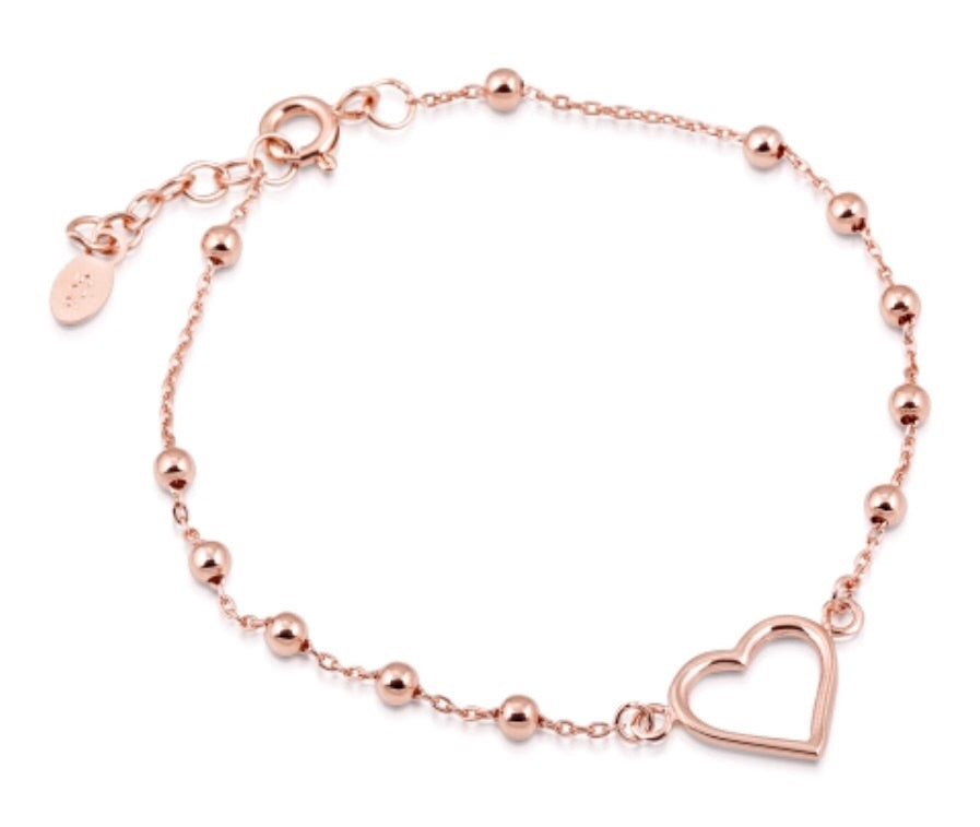 Ball Heart Bracelet in Rose Gold