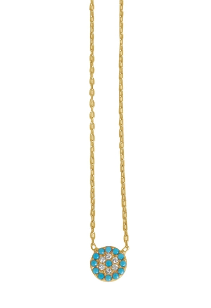 Small Round Eye Necklace in Turquoise and Gold