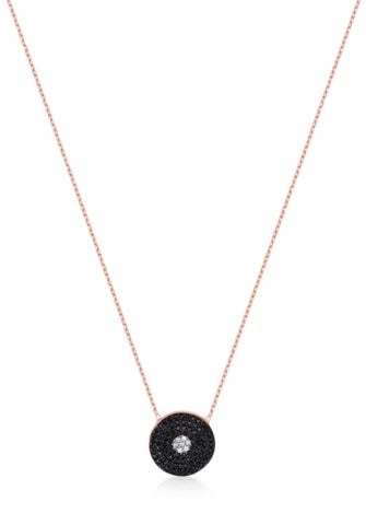 Black Diamond Necklace in Rose Gold