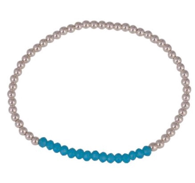 Crystal Turquoise Beaded Bracelet in Sterling Silver