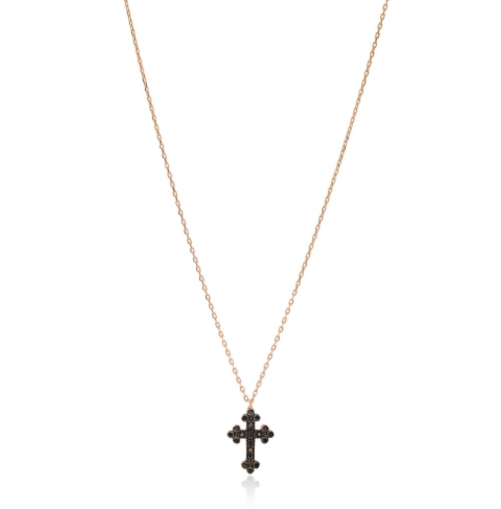 Black Diamonte Cross Necklace in Rose Gold