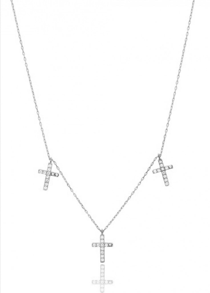 Trio Cross Necklace in Sterling Silver
