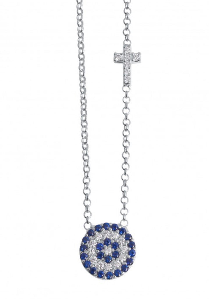 Blue Eye and Crystal Cross Necklace in Sterling Silver