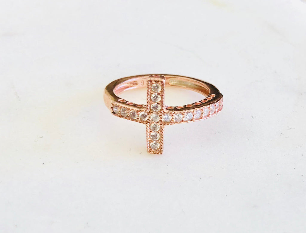 Cross Ring in Rose Gold