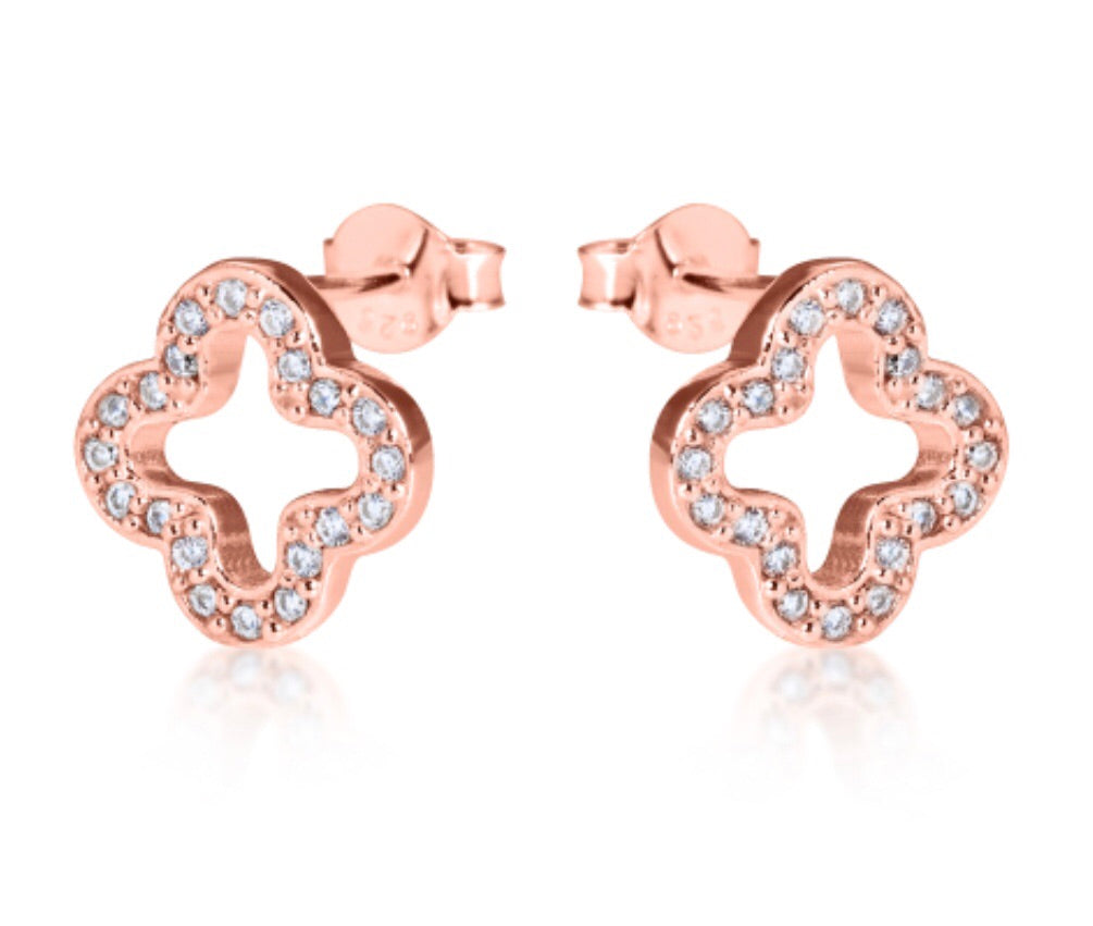 Open Clover Stud Earrings in Rose Gold
