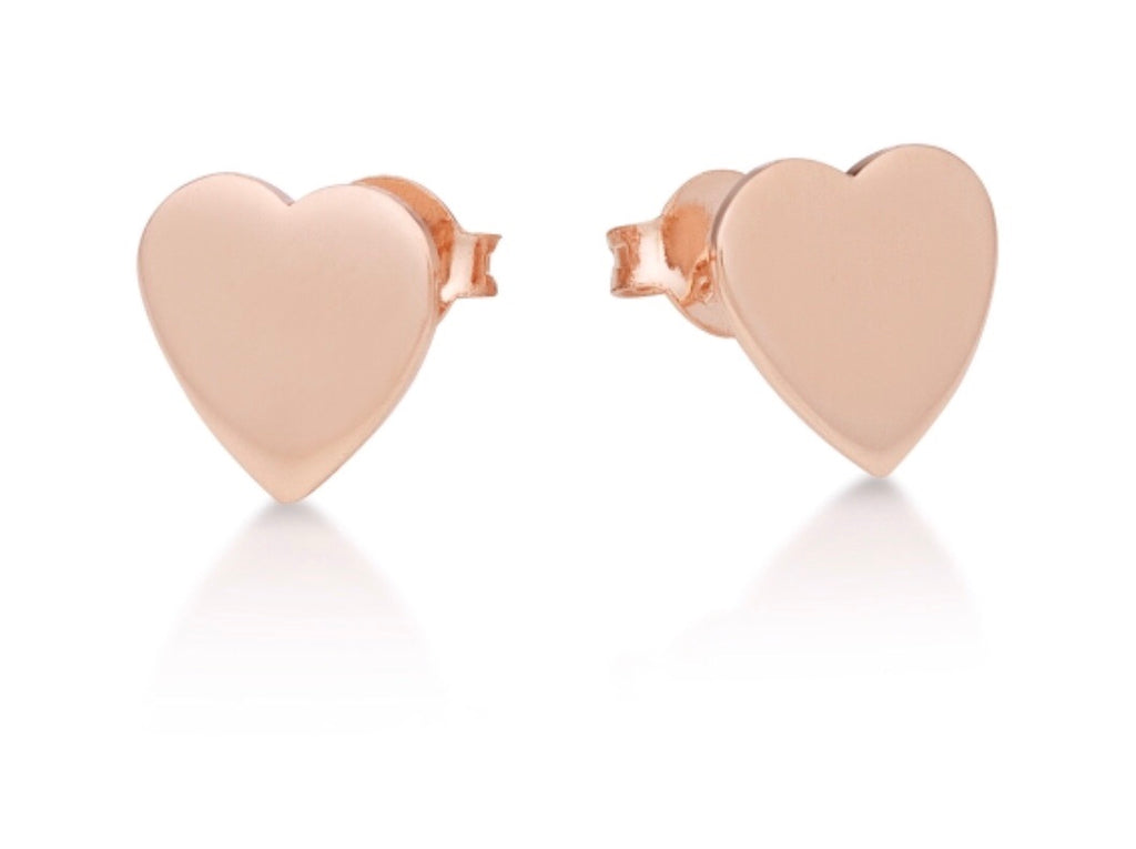 Flat Heart Stud Earrings in Rose Gold