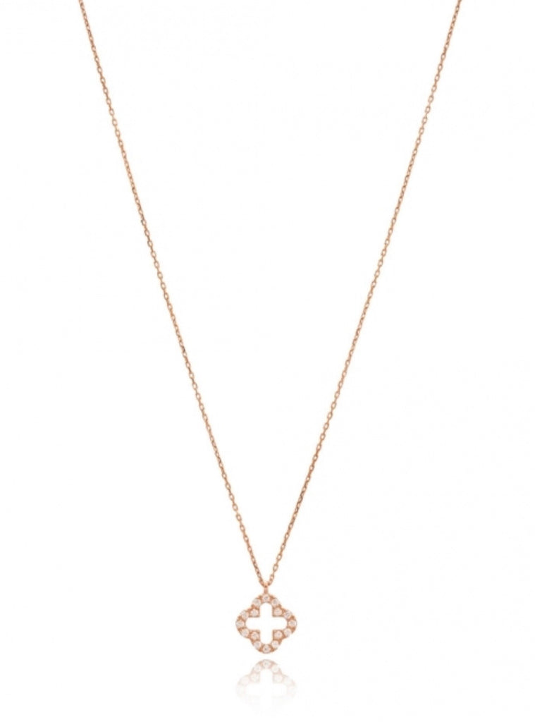 Open Clover White Diamond Necklace in Rose Gold