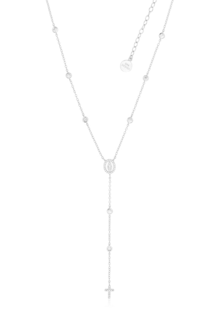 Diamanté Rosary Necklace in Sterling Silver