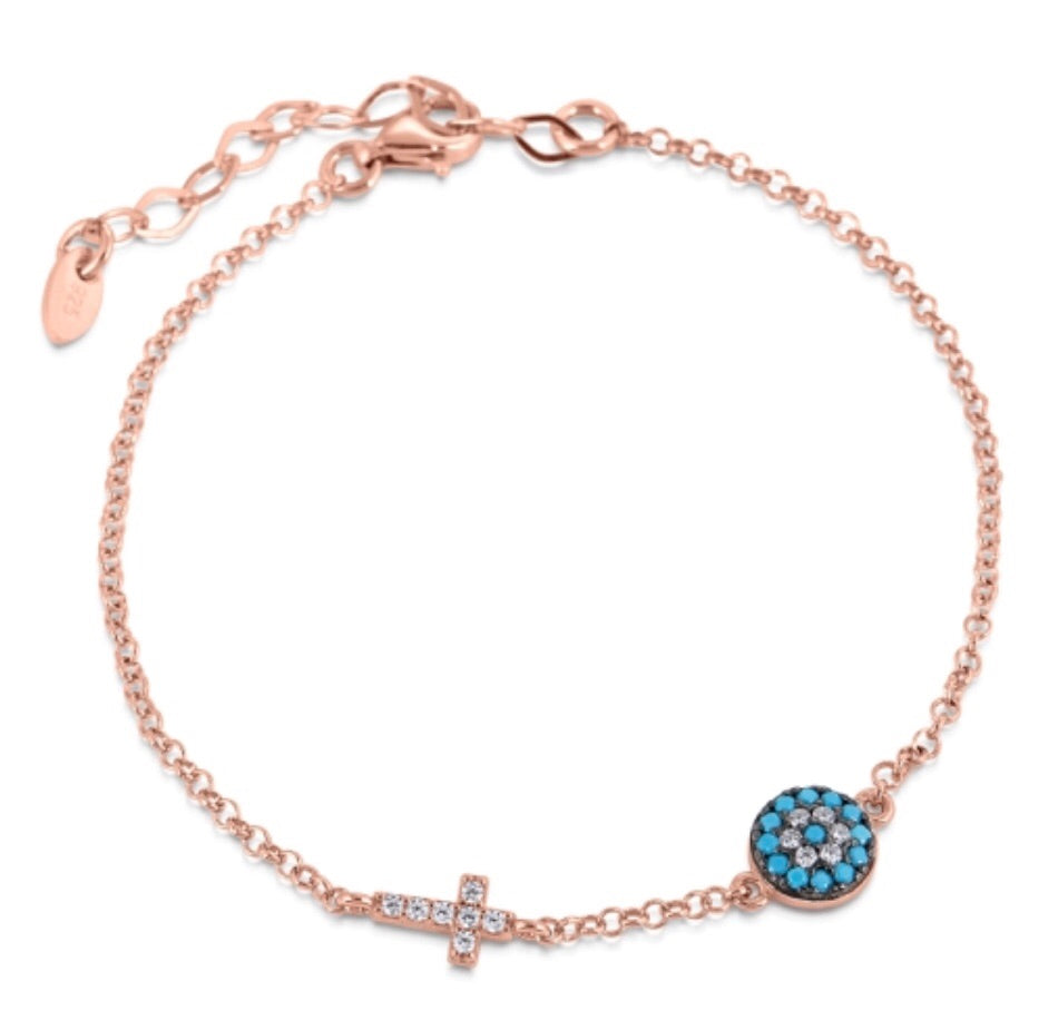 Small Eye and Cross Bracelet in Turquoise Nano and Rose Gold