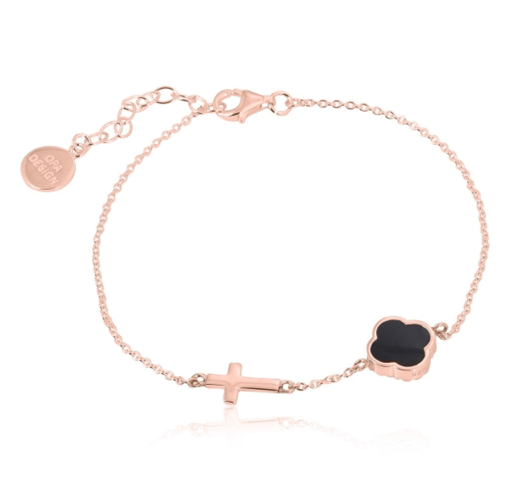 Onyx Clover and Cross Bracelet in Rose Gold