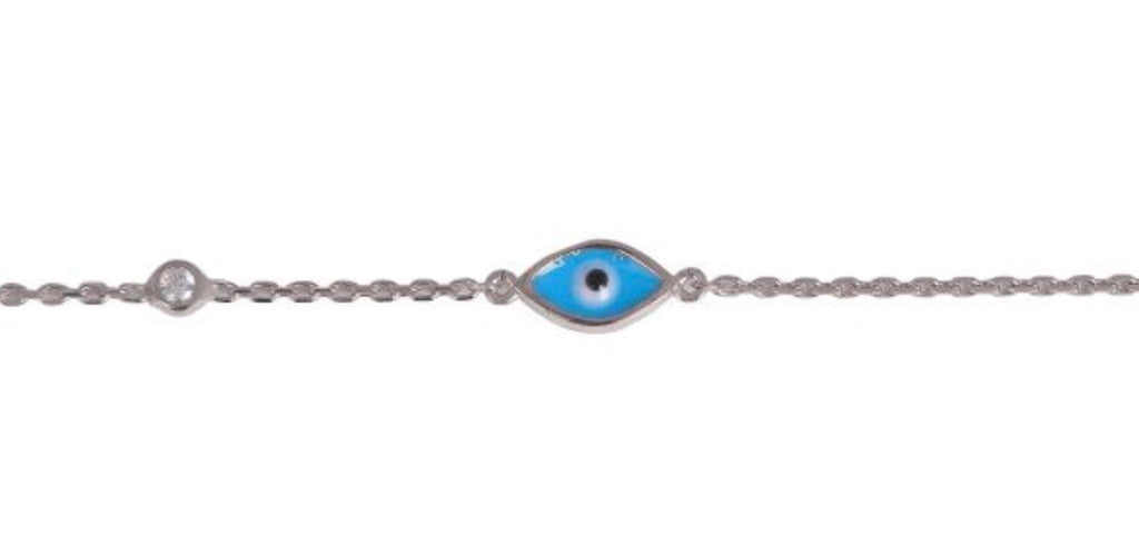 Blue Eye and Diamonte Bracelet in Rose Gold
