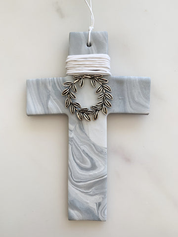 Stefana Luxe Marbled Silver Cross