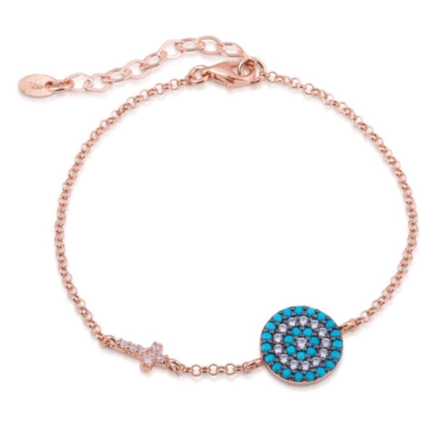 Big Eye and Cross Nano Turquoise Bracelet in Rose Gold