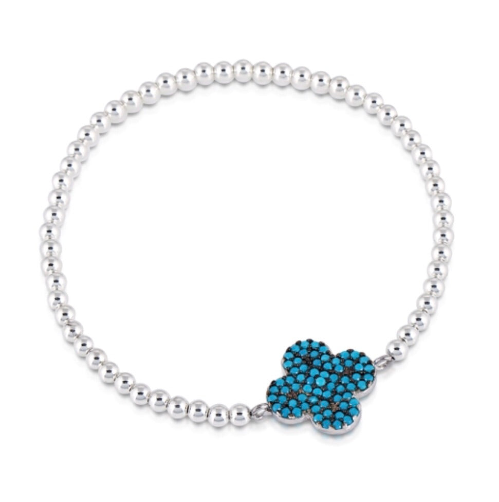 Large Clover Nano Beaded Bracelet in Sterling Silver