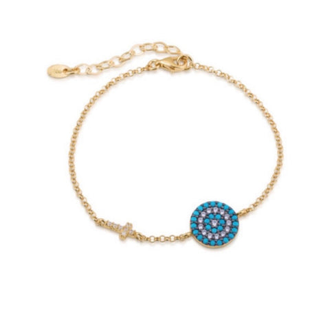 Big Eye and Cross Nano Turquoise Bracelet in Gold
