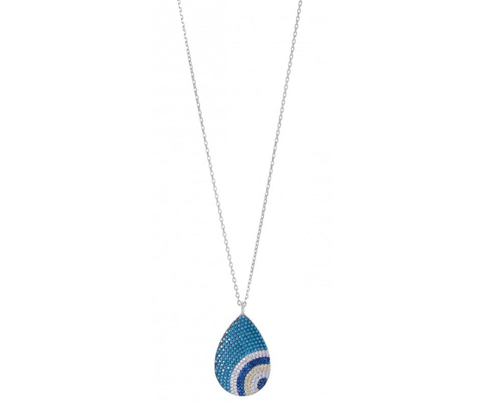 Teardrop Evil Eye Necklace in Sterling Silver