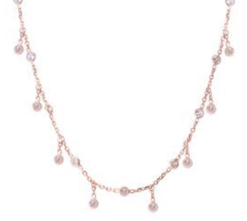 Chain Droplet Necklace in Rose Gold