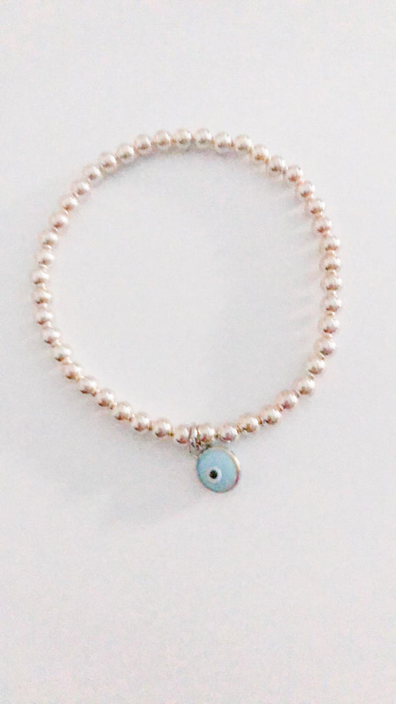 Eye Love Beaded Bracelet in Sterling Silver with Light Blue Eye