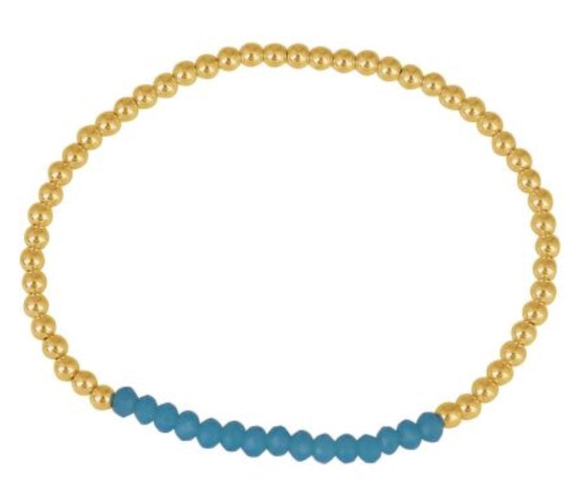 Crystal Turquoise Beaded Bracelet in Gold