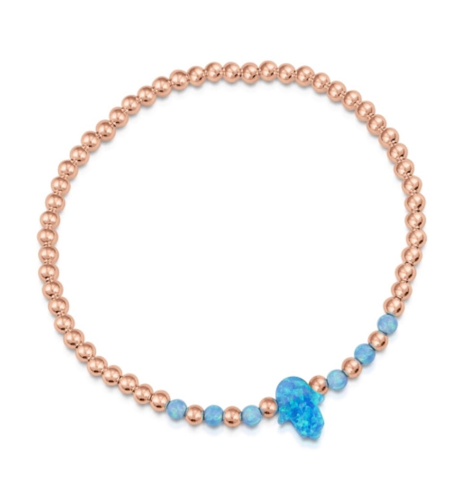 Hamsa Opalite Star Beaded Bracelet in Rose Gold