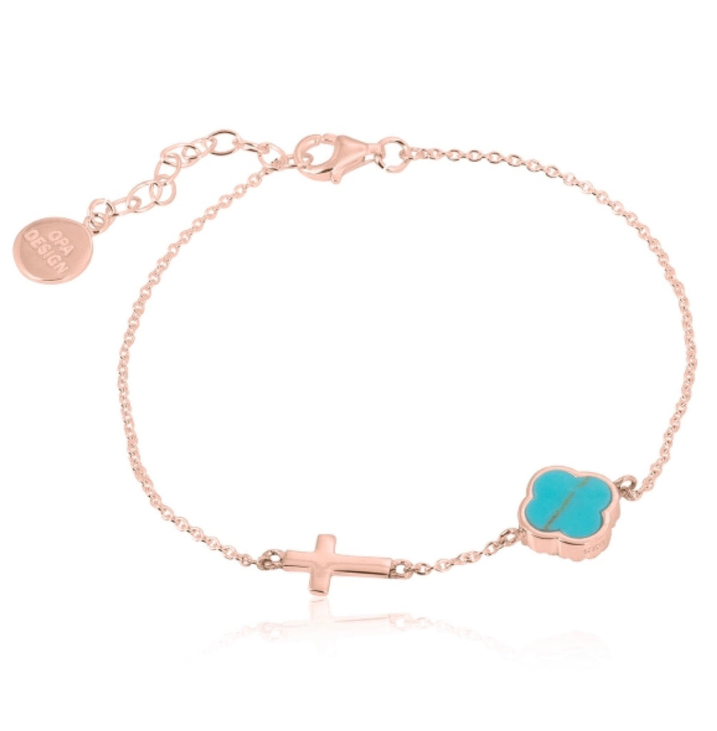 Turquoise Clover with Cross Bracelet in Rose Gold