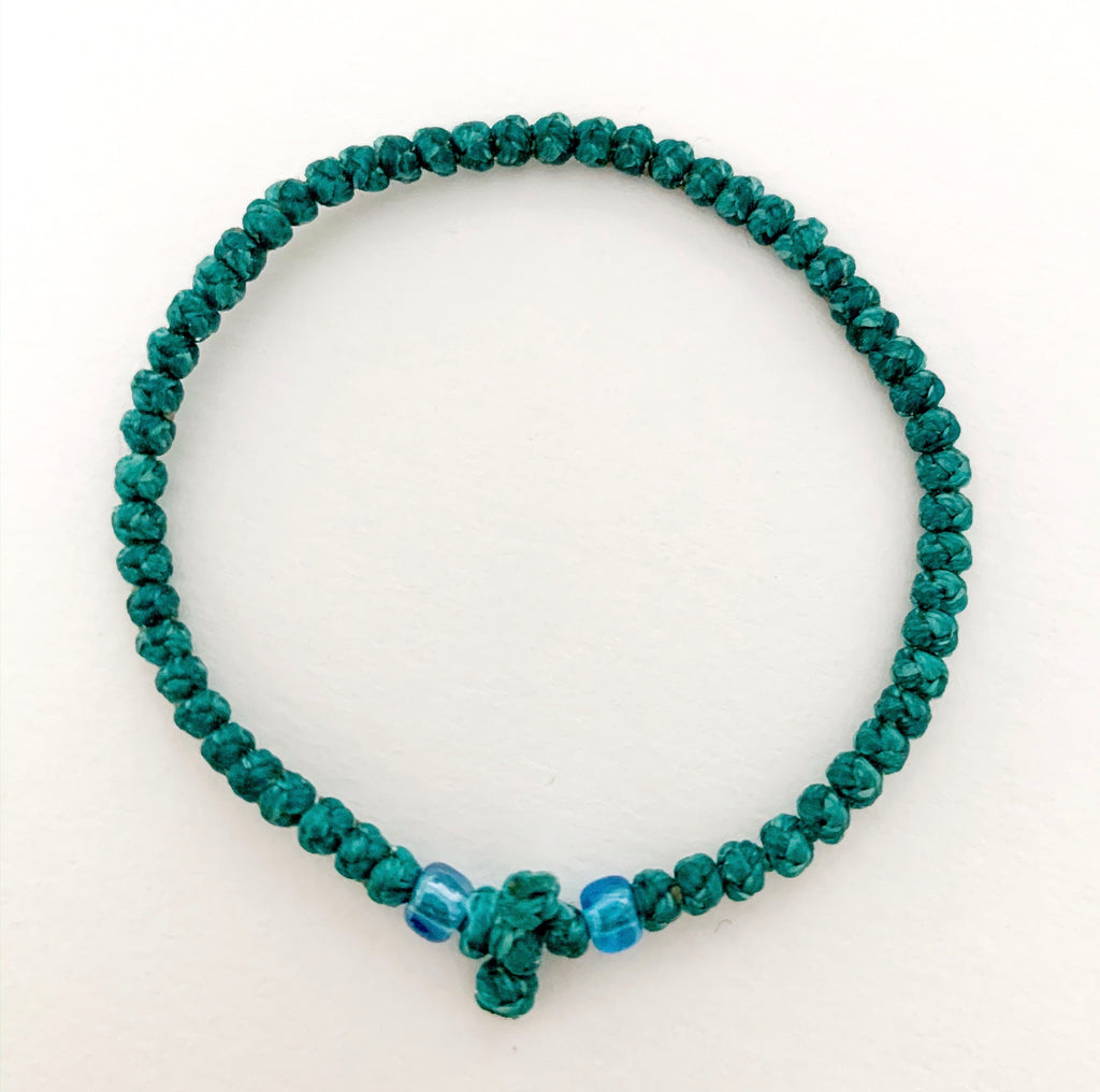 Teal Green Komboskini with Light Blue Beads