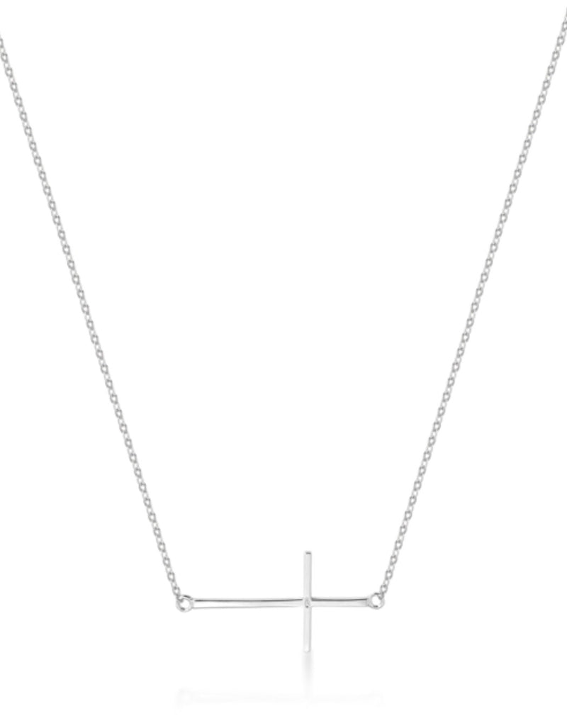 Side Plain Cross Necklace in Sterling Silver