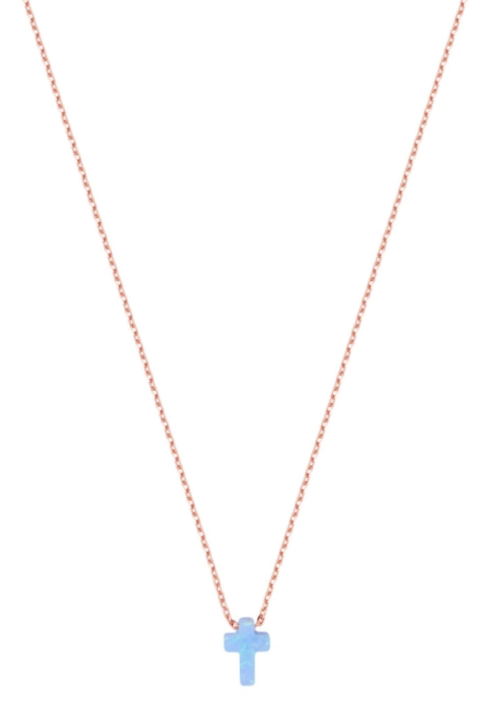 Mini Opalite Cross Necklace in Rose Gold