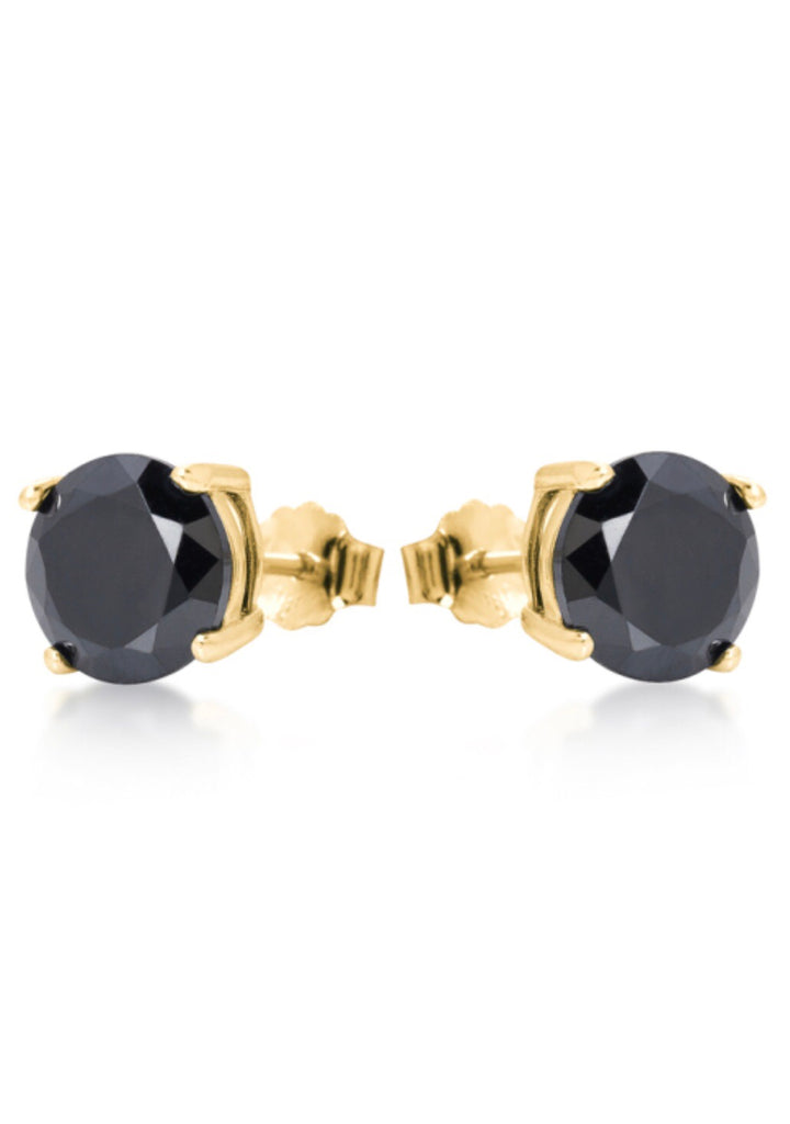 Round Black Onyx Earrings in Gold