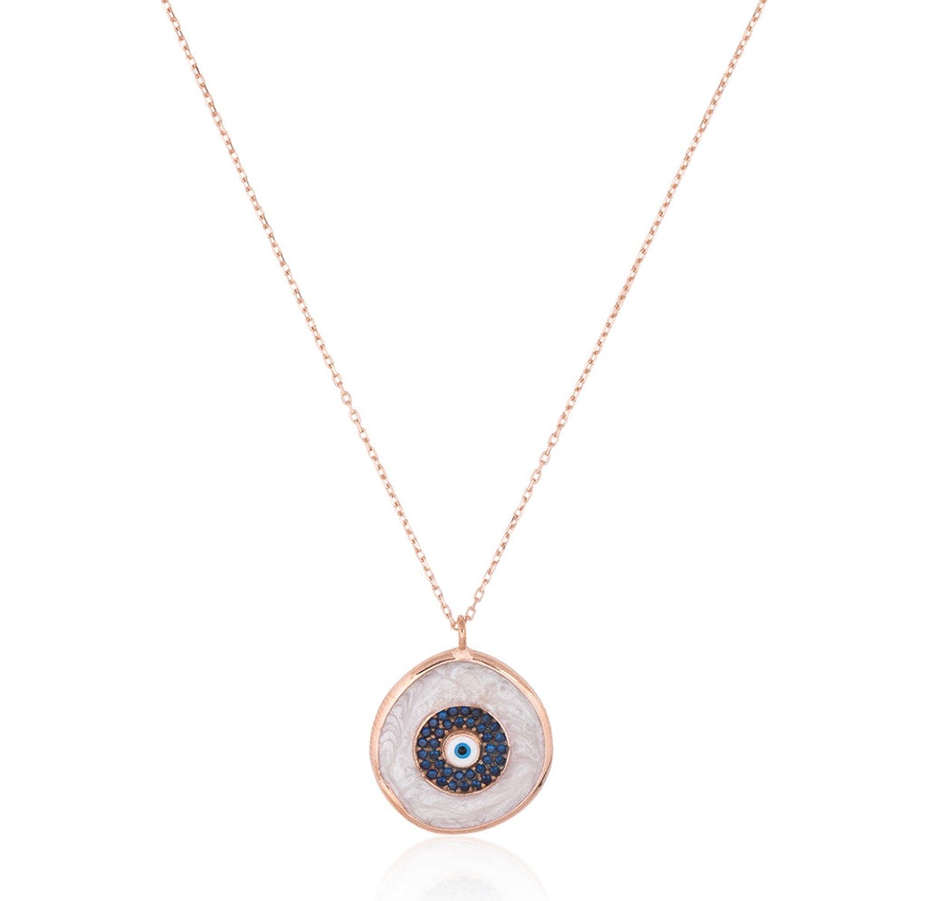 Bianca Eye Necklace in Rose Gold