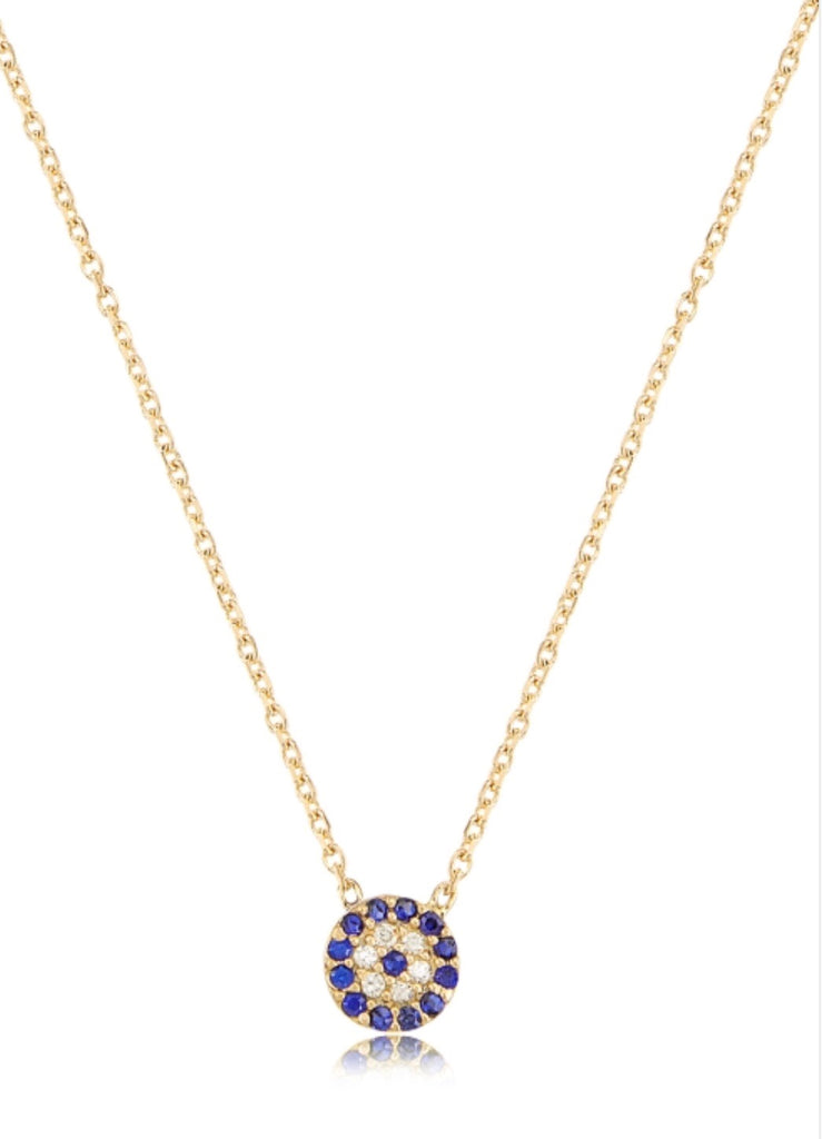 Small Blue Eye Necklace in Gold